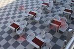 Универсална маса от пластмаса за хотел, за външно използване