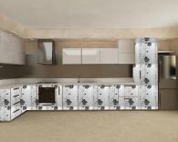 Кухненски мебели с бяло черни врати МДФ фолио